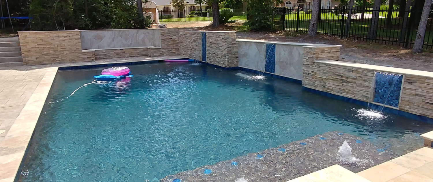 custom swimming pool water feature builders