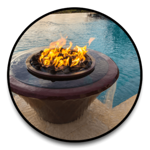 custom water and fire features for swimming pools
